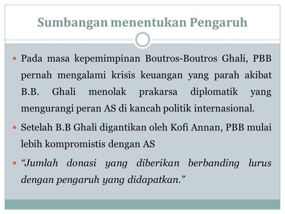 Sumbangan menentukan Pengaruh Pada masa kepemimpinan Boutros-Boutros Ghali, PBB pernah mengalami krisis keuangan yang parah akibat B.B.