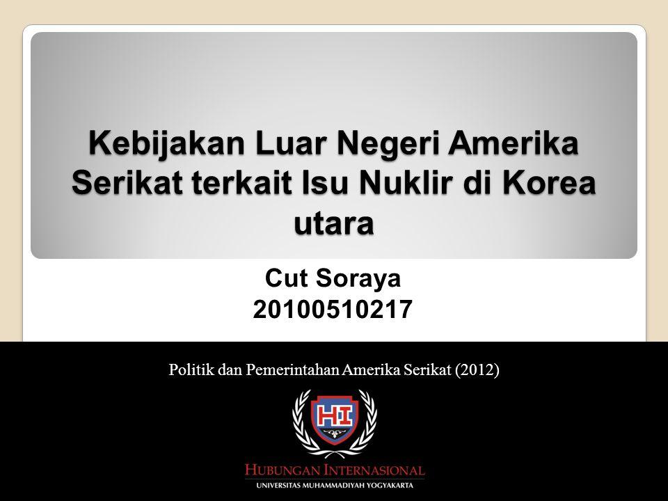 Kebijakan Luar Negeri Amerika Serikat terkait Isu Nuklir di Korea utara Alasan AS memasukkan isu nuklir di Korea Utara kedalam agenda politik luar negerinya Kebijakan luar negeri AS terkait isu nuklir di Korea Utara Upaya yang telah dilakukan AS dalam penyelesaian isu nuklir di Korea Utara