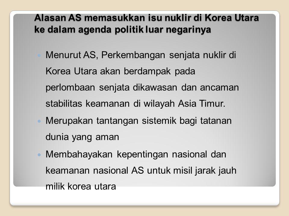 Alasan AS memasukkan isu nuklir di Korea Utara ke dalam agenda politik luar negerinya Karena hal ini bertentangan dengan prinsip Nuclear Non Proliferation Treaty (NPT) di mana Korea Utara sendiri juga merupakan salah satu negara yang turut serta dalam penanda tanganan perjanjian tersebut.