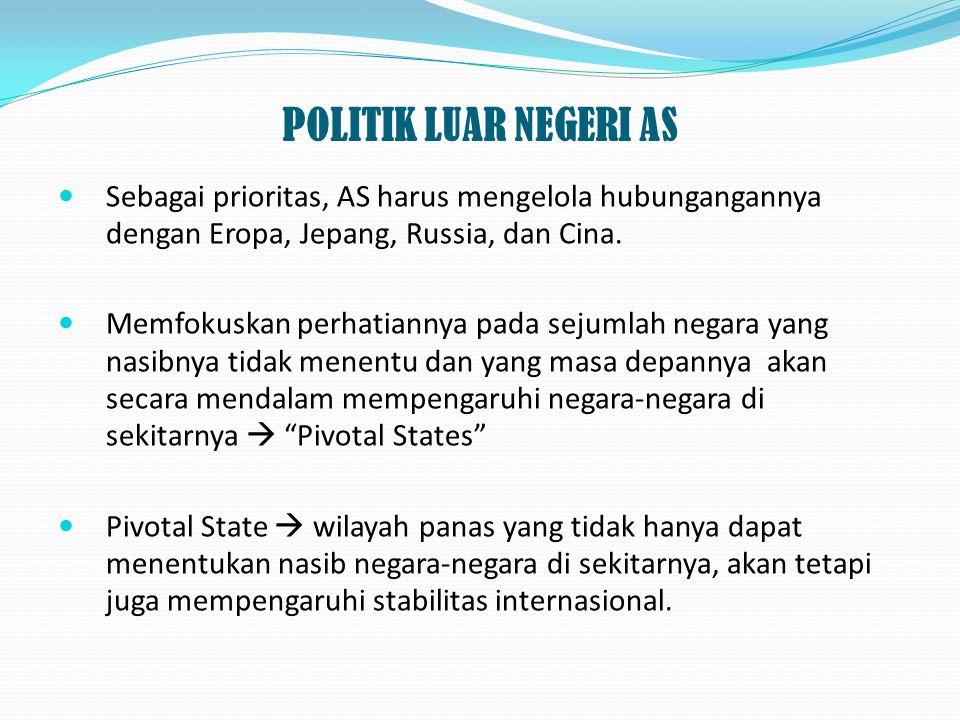 POLITIK LUAR NEGERI AS Sebagai prioritas, AS harus mengelola hubungangannya dengan Eropa, Jepang, Russia, dan Cina. Memfokuskan perhatiannya pada seju