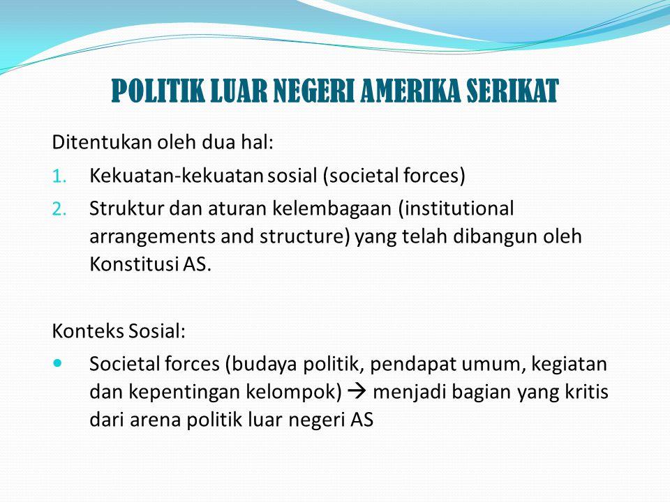 POLITIK LUAR NEGERI AMERIKA SERIKAT Ditentukan oleh dua hal: 1. Kekuatan-kekuatan sosial (societal forces) 2. Struktur dan aturan kelembagaan (institu