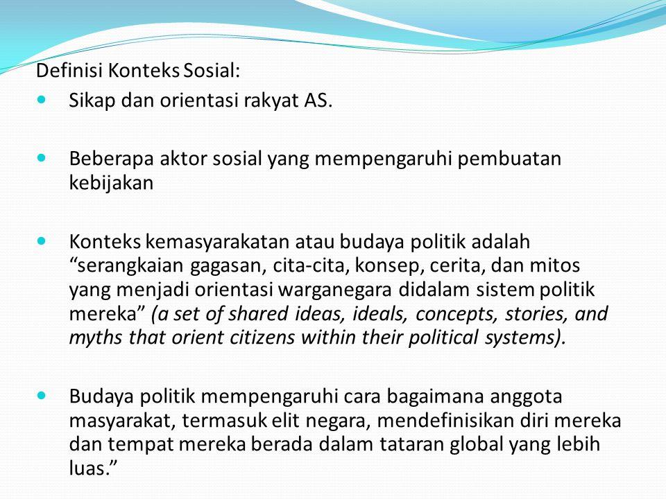 Definisi Konteks Sosial: Sikap dan orientasi rakyat AS. Beberapa aktor sosial yang mempengaruhi pembuatan kebijakan Konteks kemasyarakatan atau budaya