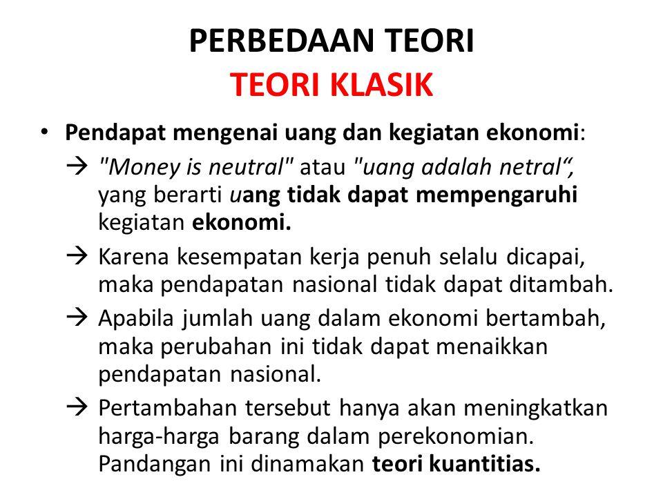 PERBEDAAN TEORI TEORI KLASIK Pendapat mengenai uang dan kegiatan ekonomi:  Money is neutral atau uang adalah netral , yang berarti uang tidak dapat mempengaruhi kegiatan ekonomi.