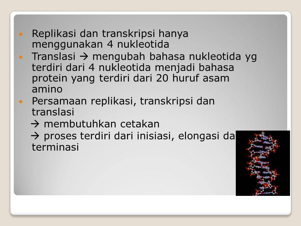 Replikasi dan transkripsi hanya menggunakan 4 nukleotida Translasi  mengubah bahasa nukleotida yg terdiri dari 4 nukleotida menjadi bahasa protein ya