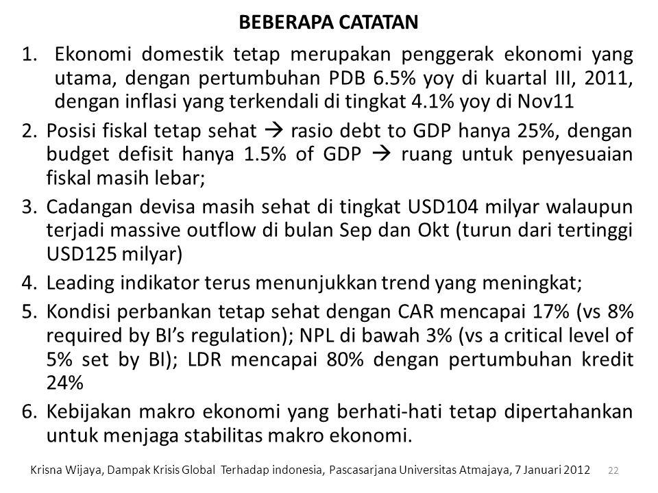 22 1.Ekonomi domestik tetap merupakan penggerak ekonomi yang utama, dengan pertumbuhan PDB 6.5% yoy di kuartal III, 2011, dengan inflasi yang terkenda