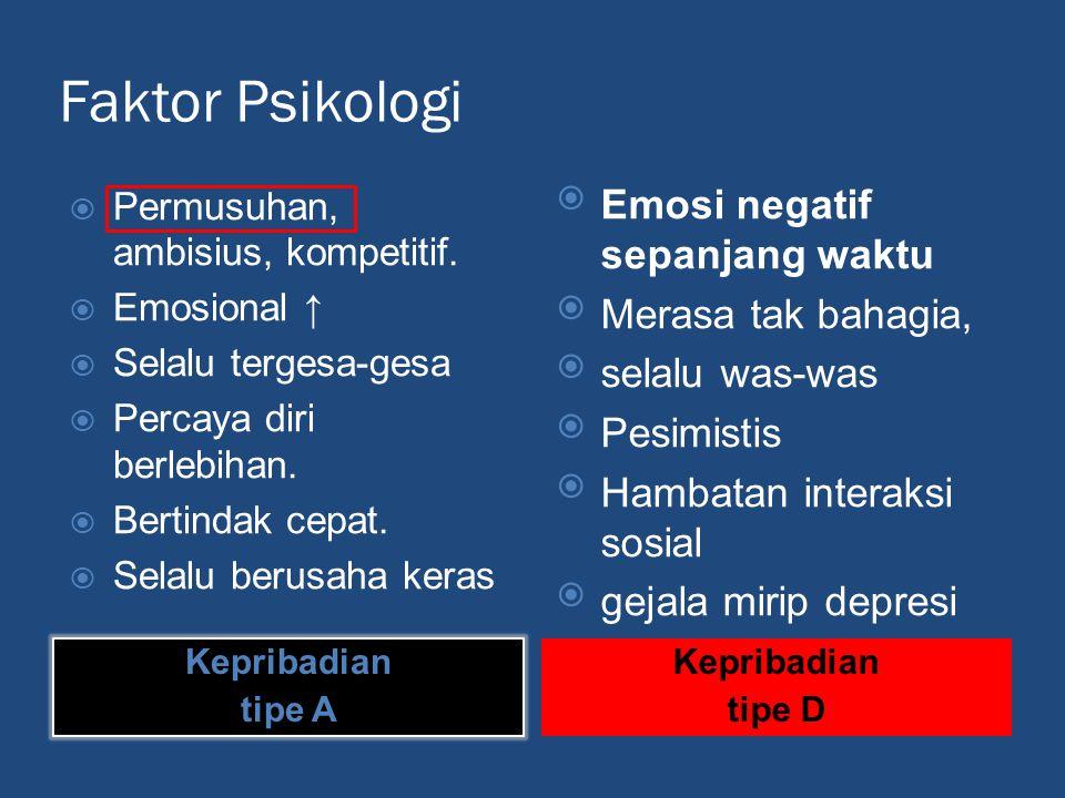 Faktor Psikologi Kepribadian tipe A Kepribadian tipe D  Permusuhan, ambisius, kompetitif.