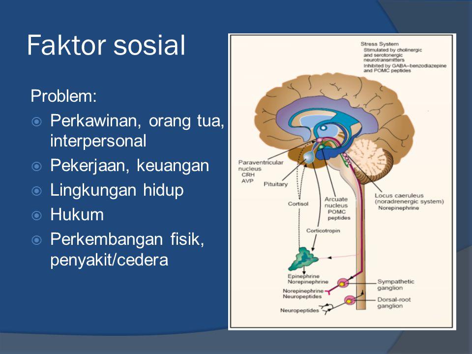 Faktor sosial Problem:  Perkawinan, orang tua, interpersonal  Pekerjaan, keuangan  Lingkungan hidup  Hukum  Perkembangan fisik, penyakit/cedera