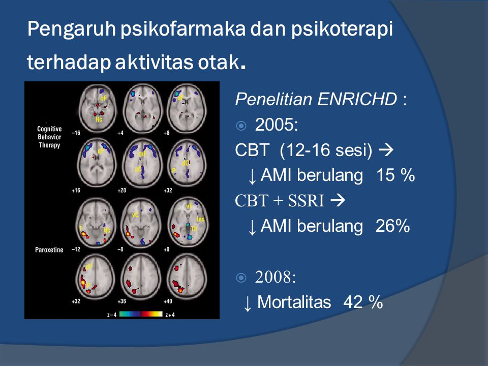 Pengaruh psikofarmaka dan psikoterapi terhadap aktivitas otak.