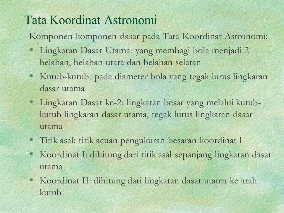 Tata Koordinat Astronomi Komponen-komponen dasar pada Tata Koordinat Astronomi: §Lingkaran Dasar Utama: yang membagi bola menjadi 2 belahan, belahan u