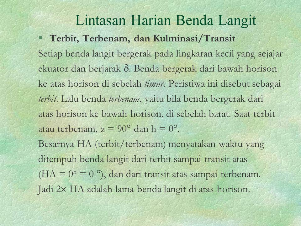 Lintasan Harian Benda Langit §Terbit, Terbenam, dan Kulminasi/Transit Setiap benda langit bergerak pada lingkaran kecil yang sejajar ekuator dan berja