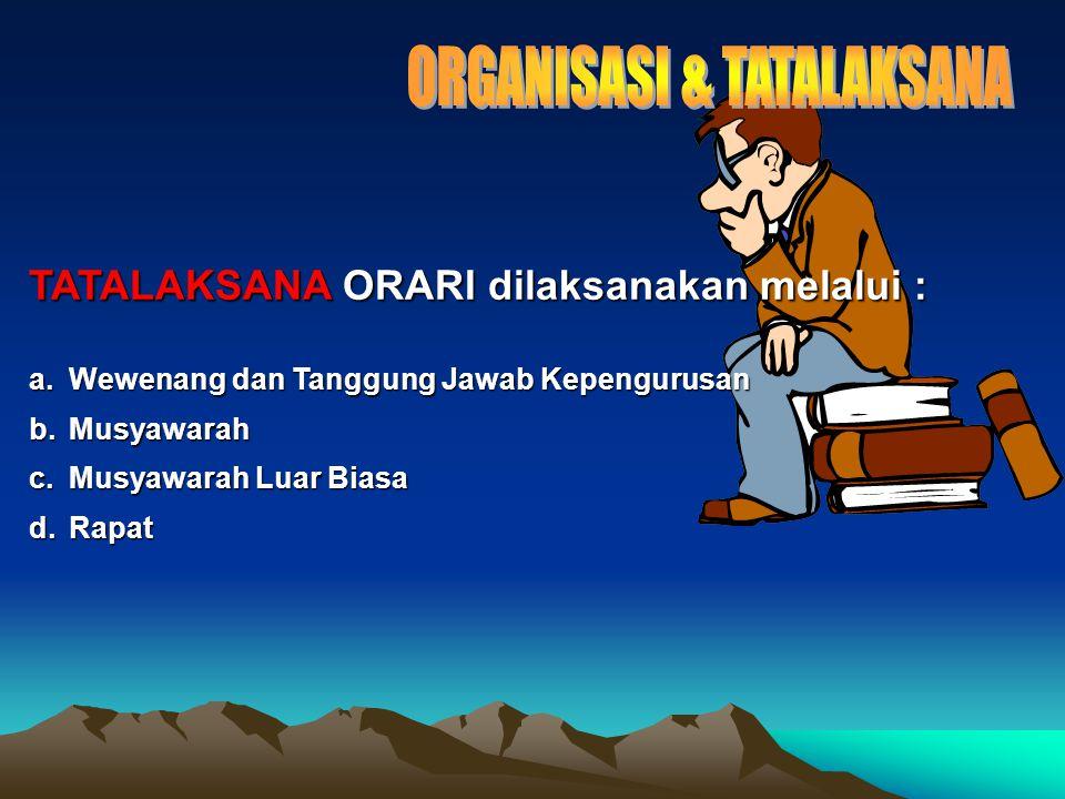 TATALAKSANA ORARI dilaksanakan melalui : a.Wewenang dan Tanggung Jawab Kepengurusan b.Musyawarah c.Musyawarah Luar Biasa d.Rapat