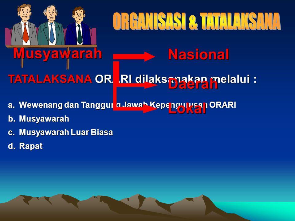 TATALAKSANA ORARI dilaksanakan melalui : a.Wewenang dan Tanggung Jawab Kepengurusan ORARI b.Musyawarah c.Musyawarah Luar Biasa d.Rapat Musyawarah Nasional Daerah Lokal