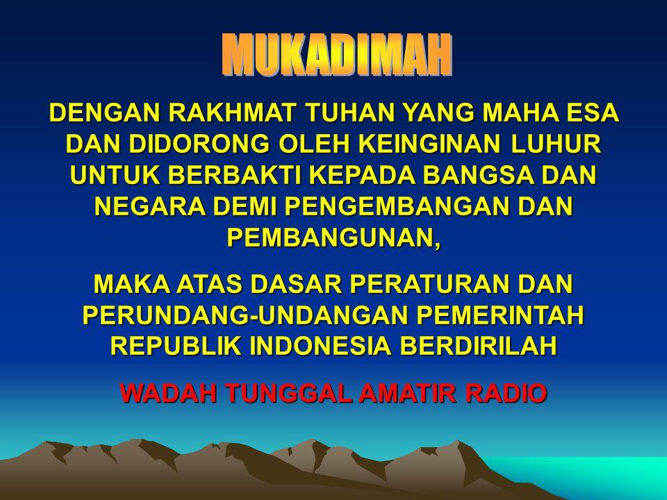 Kemudian daripada itu untuk mewujudkan Organisasi Amatir Radio Indonesia dengan cara menumbuhkan kesadaran akan kewajiban dan rasa tanggung jawab Amatir Radio, melindungi dan memperjuangkan hak serta kepentingan segenap Amatir Radio, mencerdaskan dan meningkatkan kesejahteraan rakyat, memelihara persatuan dan kesatuan Bangsa dan Negara, serta menjalin persaudaraan dengan Bangsa lain di seluruh dunia.