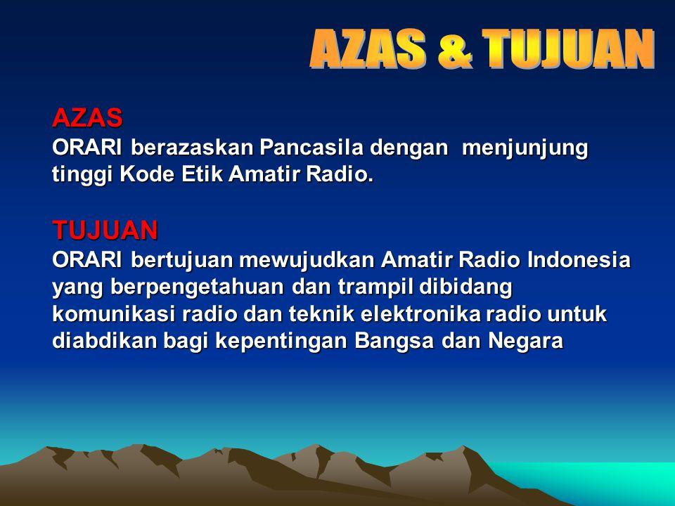 FUNGSI Untuk mencapai tujuan Organisasi, ORARI berfungsi sebagai : (1) Sarana pembinaan Amatir Radio Indonesia.