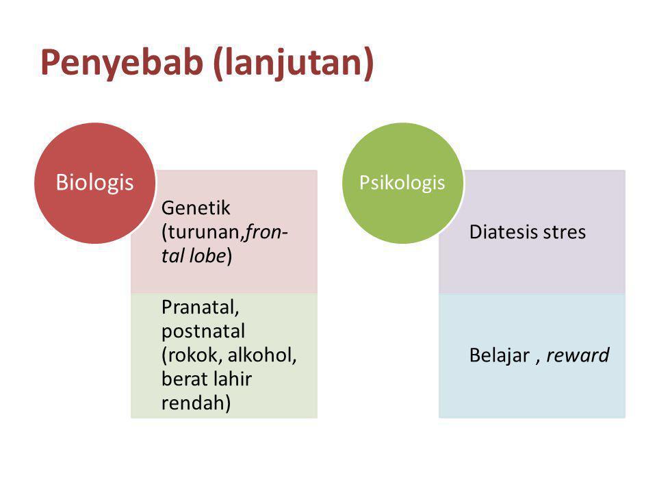 Penyebab (lanjutan) Genetik (turunan,fron- tal lobe) Pranatal, postnatal (rokok, alkohol, berat lahir rendah) Biologis Diatesis stres Belajar, reward Psikologis