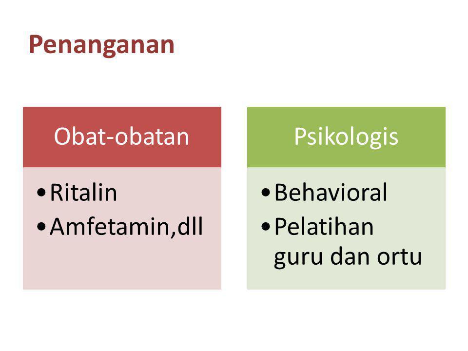 Penanganan Obat-obatan Ritalin Amfetamin,dll Psikologis Behavioral Pelatihan guru dan ortu