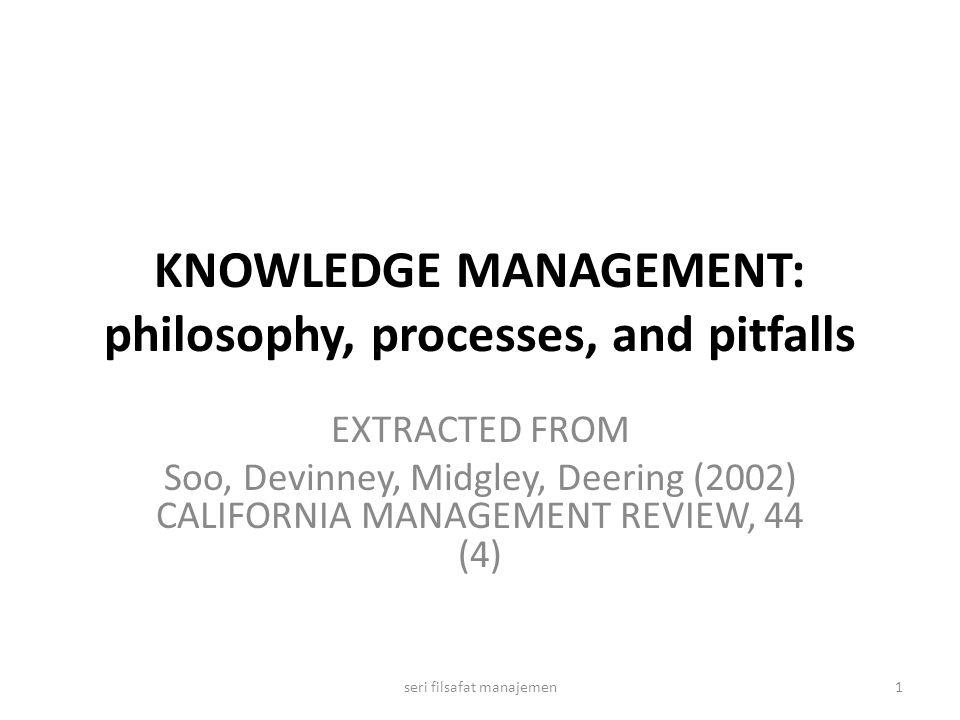 COMPONENTS OF KNOWLEDGE MANAGEMENT 2seri filsafat manajemen