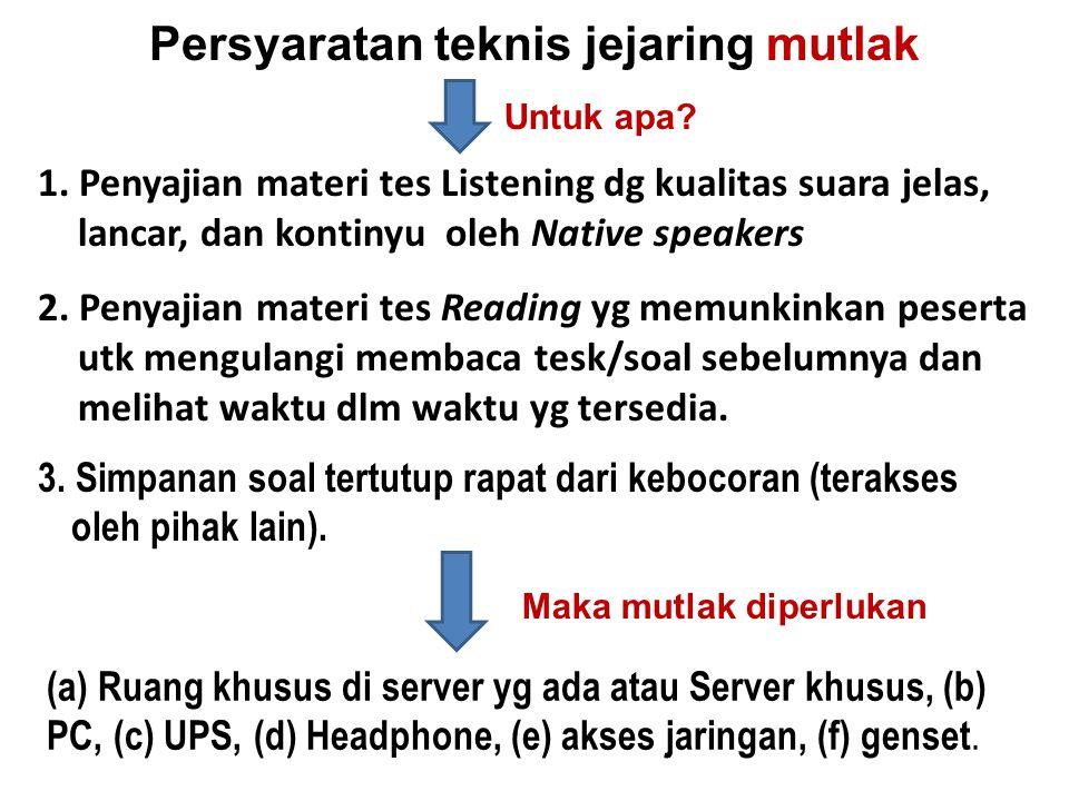 Persyaratan teknis jejaring mutlak 1. Penyajian materi tes Listening dg kualitas suara jelas, lancar, dan kontinyu oleh Native speakers 2. Penyajian m