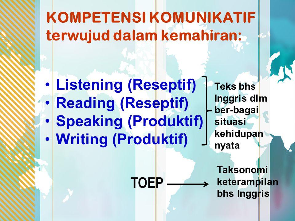 KOMPETENSI KOMUNIKATIF terwujud dalam kemahiran: Listening (Reseptif) Reading (Reseptif) Speaking (Produktif) Writing (Produktif) TOEP Teks bhs Inggri