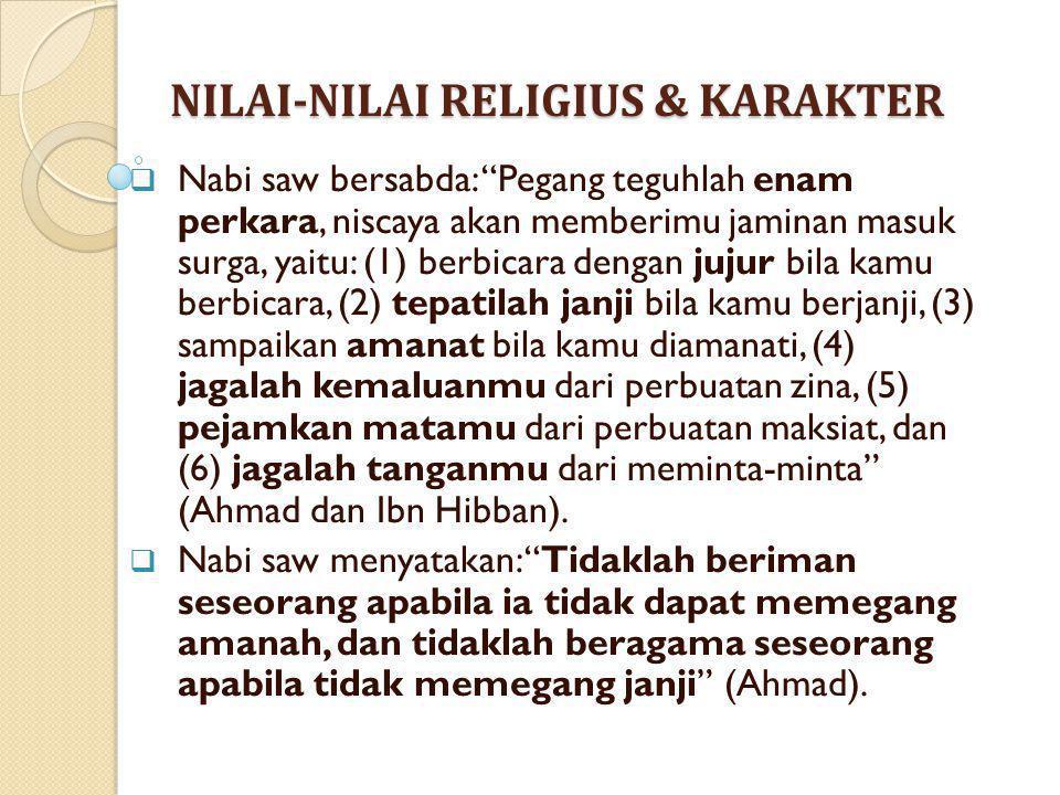 """NILAI-NILAI RELIGIUS & KARAKTER  Nabi saw bersabda: """"Pegang teguhlah enam perkara, niscaya akan memberimu jaminan masuk surga, yaitu: (1) berbicara d"""