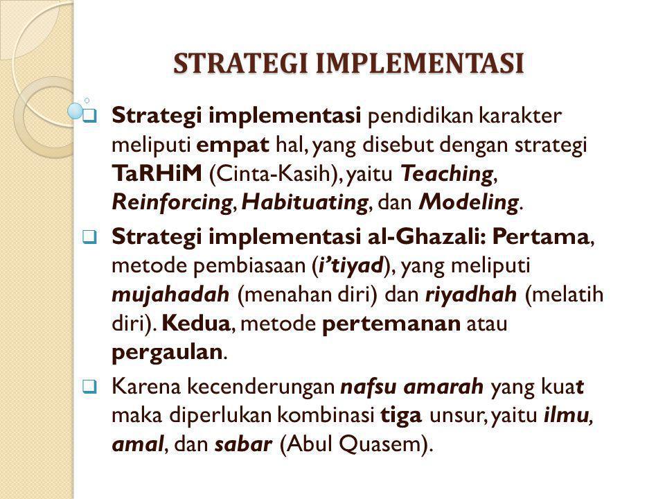 STRATEGI IMPLEMENTASI  Strategi implementasi pendidikan karakter meliputi empat hal, yang disebut dengan strategi TaRHiM (Cinta-Kasih), yaitu Teachin