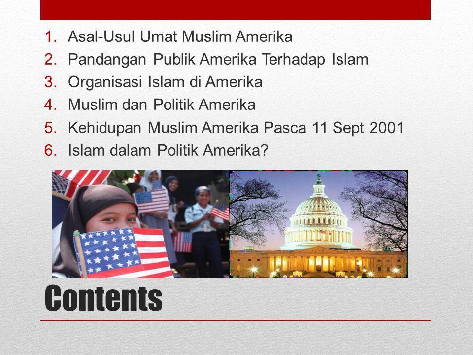 Contents 1.Asal-Usul Umat Muslim Amerika 2.Pandangan Publik Amerika Terhadap Islam 3.Organisasi Islam di Amerika 4.Muslim dan Politik Amerika 5.Kehidu
