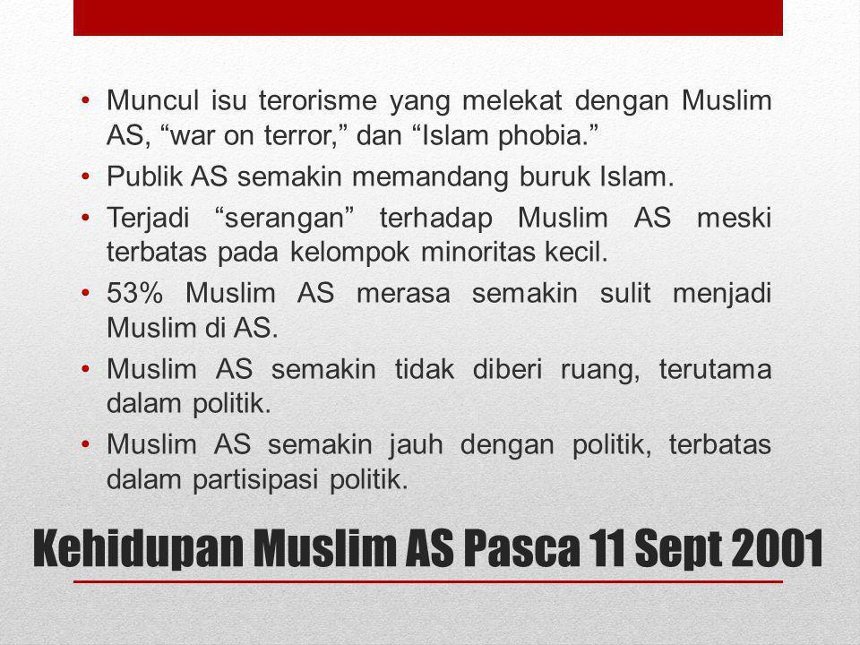 """Kehidupan Muslim AS Pasca 11 Sept 2001 Muncul isu terorisme yang melekat dengan Muslim AS, """"war on terror,"""" dan """"Islam phobia."""" Publik AS semakin mema"""