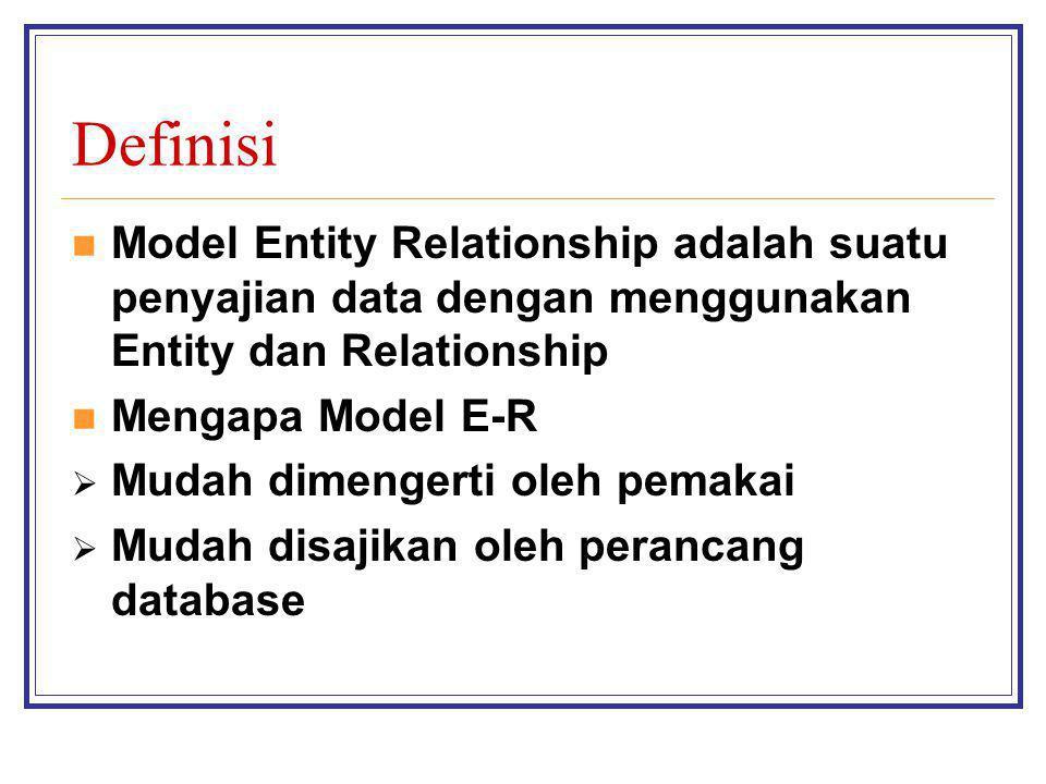 Definisi Model Entity Relationship adalah suatu penyajian data dengan menggunakan Entity dan Relationship Mengapa Model E-R  Mudah dimengerti oleh pe