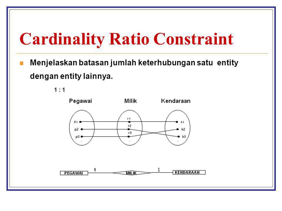 Cardinality Ratio Constraint Menjelaskan batasan jumlah keterhubungan satu entity dengan entity lainnya.