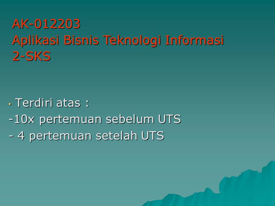 Terdiri atas : Terdiri atas : -10x pertemuan sebelum UTS - 4 pertemuan setelah UTS AK-012203 Aplikasi Bisnis Teknologi Informasi 2-SKS