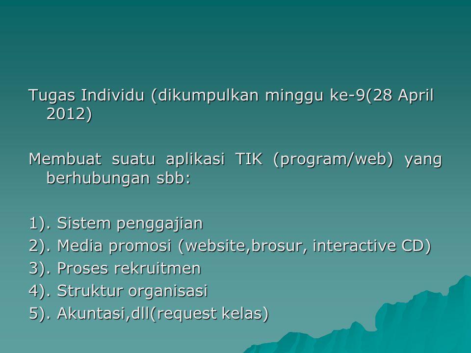 Tugas Individu (dikumpulkan minggu ke-9(28 April 2012) Membuat suatu aplikasi TIK (program/web) yang berhubungan sbb: 1).