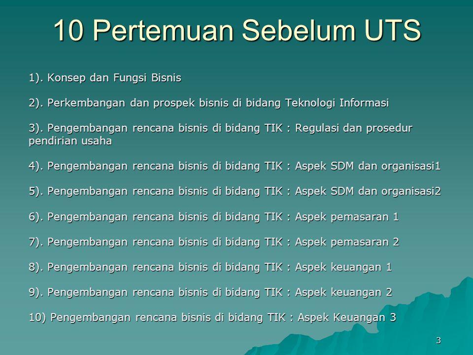 10 Pertemuan Sebelum UTS 1).Konsep dan Fungsi Bisnis 2).