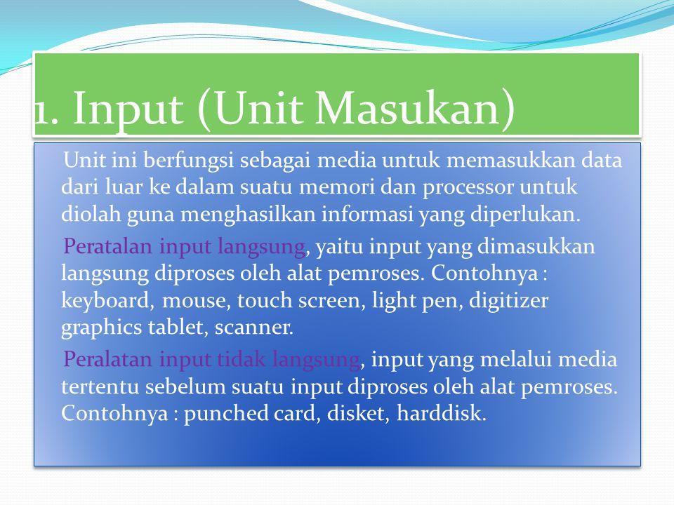 Berdasarkan fungsinya, perangkat keras komputer dibagi menjadi : 1. input divice (unit masukan) 2. Process device (unit Pemrosesan) 3. Output device (