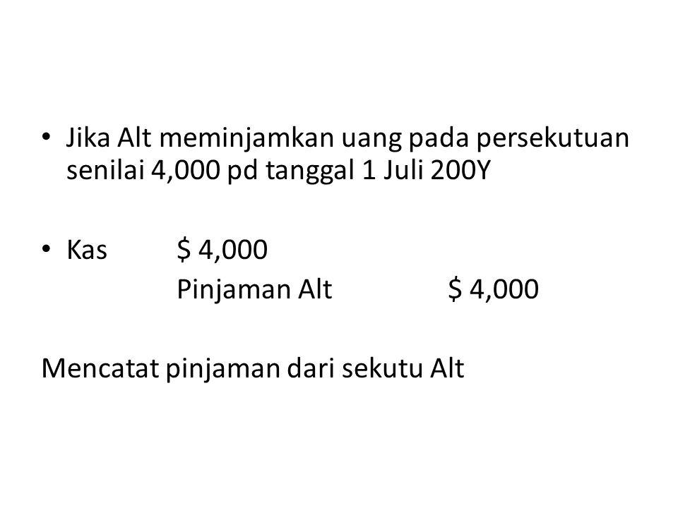 Kalau blu melakukan penarikan kas untuk keperluan pribadi sebesar $3,000 tgl 1 Mei 200Y, maka jurnalnya Penarikan Blu3,000 – Kas3,000
