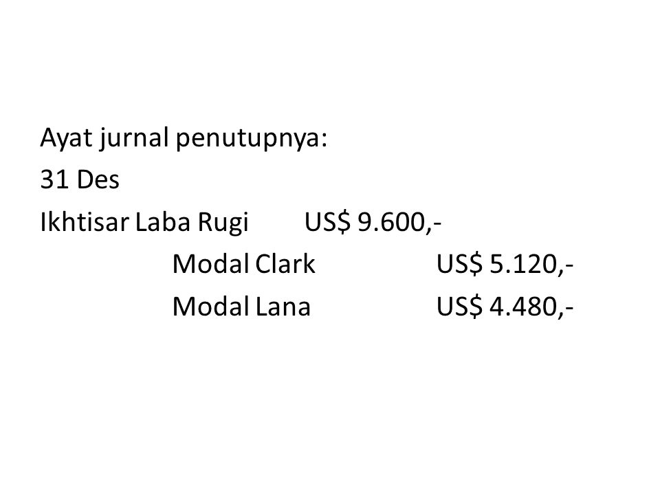 Perhitungan pembagian laba persekutuan Clark dan Lana PerkiraanClarkLanaTotal Total labaUS$ 9.600,- - Pembayaran gajiUS$ 4.300,-US$ 3.500 TotalUS$ 7.8