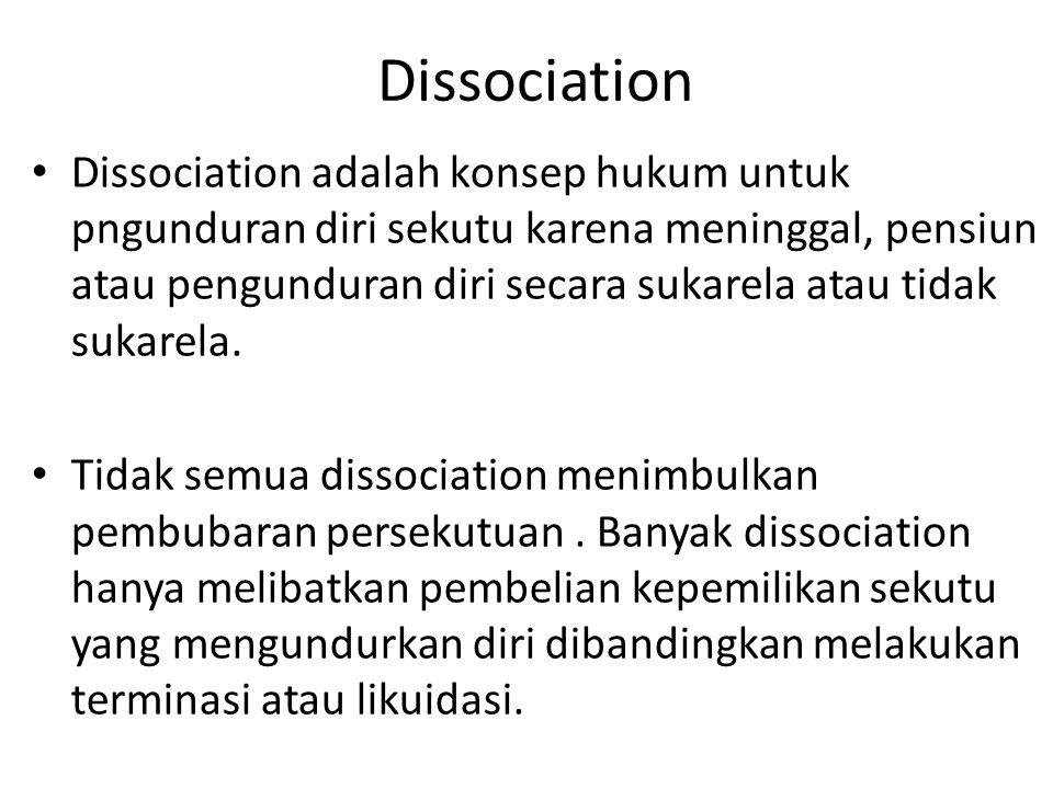 PEMBUBARAN PERSEKUTUAN ADA EMPAT JENIS PEMBUBARAN PERSEKUTUAN 1.Dissociation/Pengunduran diri 2.Dissolution/Pembubaran 3.Termination/Terminasi 4.Liqui