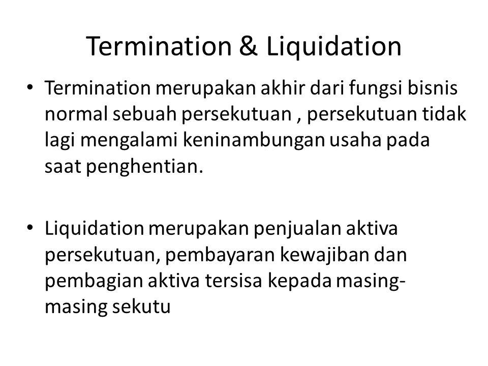 Dissolution Dissolution merupakan pengakhiran persekutuan pada akhir masa atau tujuan persekutuan atau dengan persetujuan tertulis dari seluruh sekutu