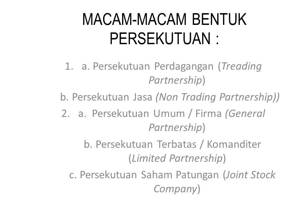 MACAM-MACAM BENTUK PERSEKUTUAN : 1.a. Persekutuan Perdagangan (Treading Partnership) b.