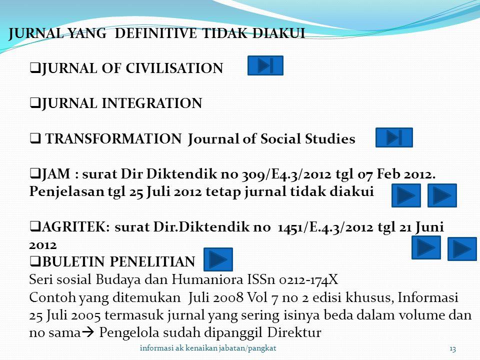 informasi ak kenaikan jabatan/pangkat13 JURNAL YANG DEFINITIVE TIDAK DIAKUI  JURNAL OF CIVILISATION  JURNAL INTEGRATION  TRANSFORMATION Journal of