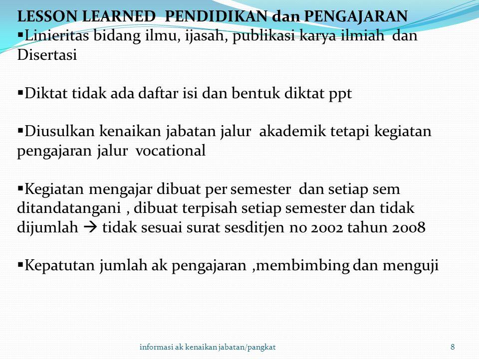 8 LESSON LEARNED PENDIDIKAN dan PENGAJARAN  Linieritas bidang ilmu, ijasah, publikasi karya ilmiah dan Disertasi  Diktat tidak ada daftar isi dan be