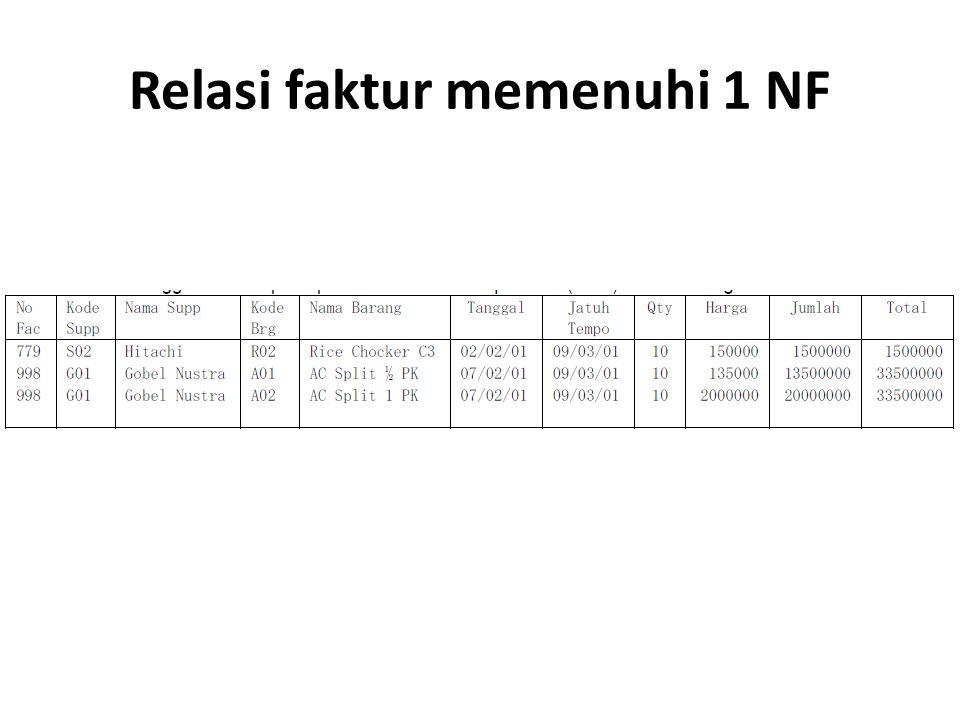 Relasi faktur memenuhi 1 NF