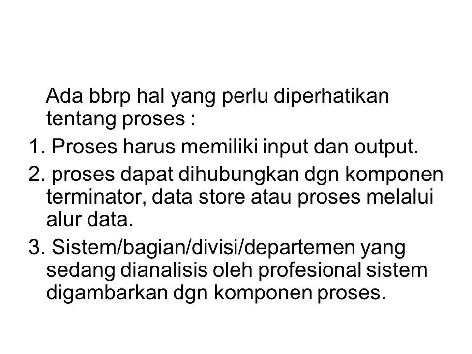 Ada bbrp hal yang perlu diperhatikan tentang proses : 1. Proses harus memiliki input dan output. 2. proses dapat dihubungkan dgn komponen terminator,