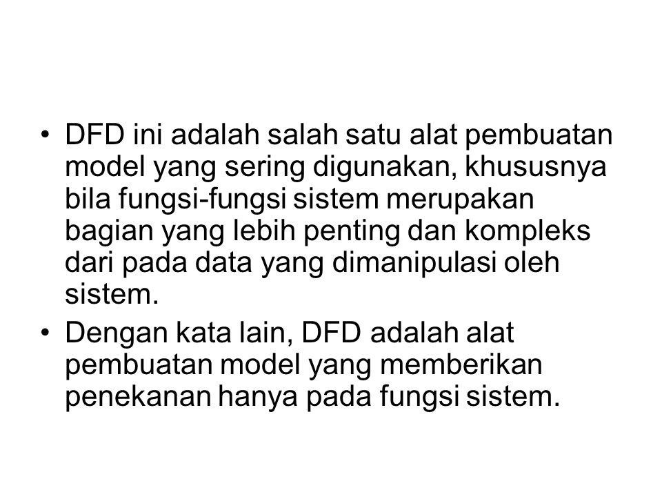 DFD ini adalah salah satu alat pembuatan model yang sering digunakan, khususnya bila fungsi-fungsi sistem merupakan bagian yang lebih penting dan komp
