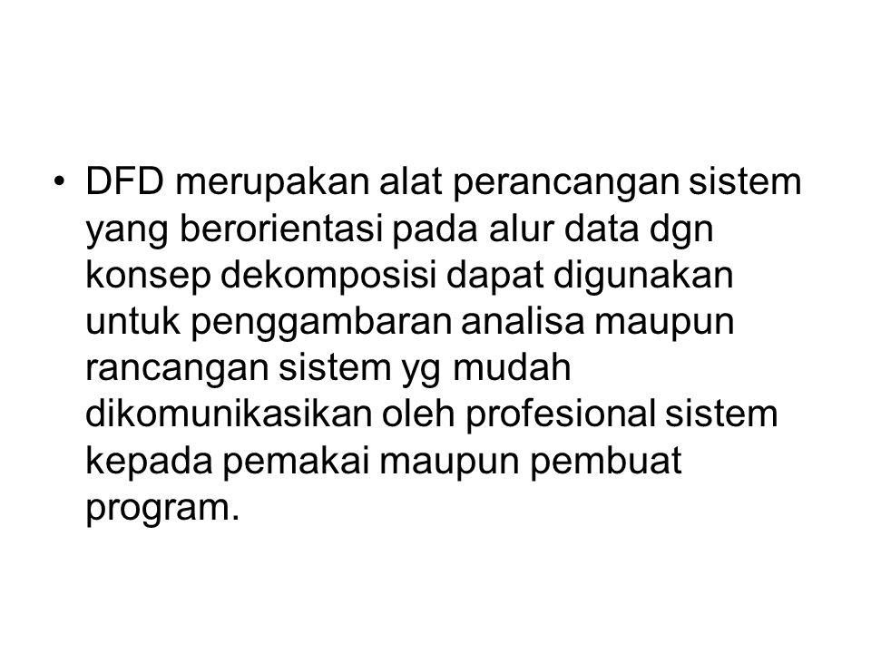 DFD merupakan alat perancangan sistem yang berorientasi pada alur data dgn konsep dekomposisi dapat digunakan untuk penggambaran analisa maupun rancan