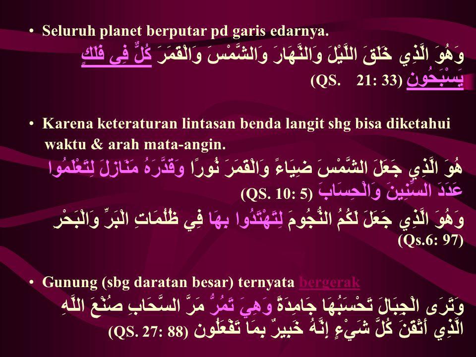 Seluruh planet berputar pd garis edarnya. وَهُوَ الَّذِي خَلَقَ اللَّيْلَ وَالنَّهَارَ وَالشَّمْسَ وَالْقَمَرَ كُلٌّ فِي فَلَكٍ يَسْبَحُون (QS. 21: 33