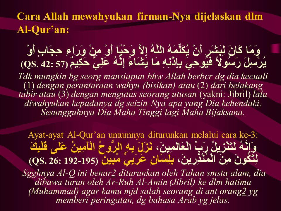 Cara Allah mewahyukan firman-Nya dijelaskan dlm Al-Qur'an: وَمَا كَانَ لِبَشَرٍ أَنْ يُكَلِّمَهُ اللَّهُ إِلاَّ وَحْيًا أَوْ مِنْ وَرَاءِ حِجَابٍ أَوْ