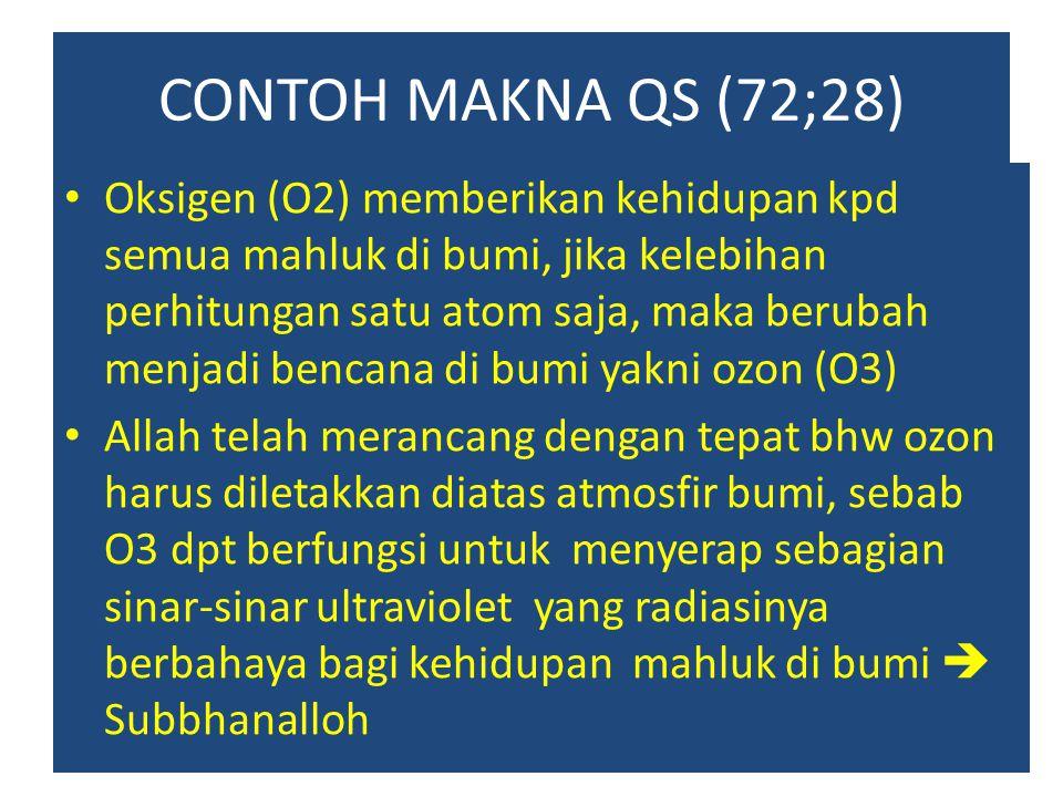 CONTOH MAKNA QS (72;28) Oksigen (O2) memberikan kehidupan kpd semua mahluk di bumi, jika kelebihan perhitungan satu atom saja, maka berubah menjadi be