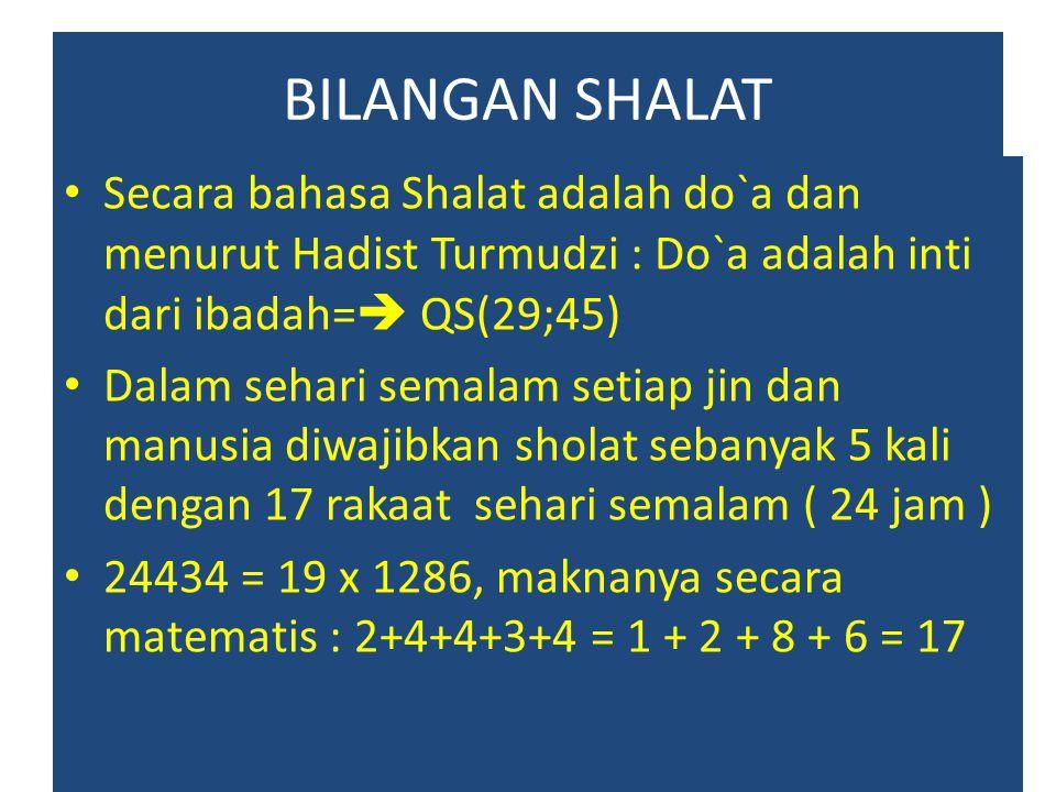 BILANGAN SHALAT Secara bahasa Shalat adalah do`a dan menurut Hadist Turmudzi : Do`a adalah inti dari ibadah=  QS(29;45) Dalam sehari semalam setiap j