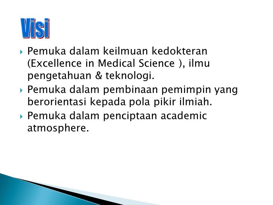  Mempersiapkan kepemimpinan Ilmiah untuk tercapainya kepemukaan dalam Ilmu Kedokteran (To Provide Scientific Leadership in the persuit of excellence in medical science) dan terciptanya suatu masyarakat ilmiah kedokteran (Scientific Community) yang bermoral.