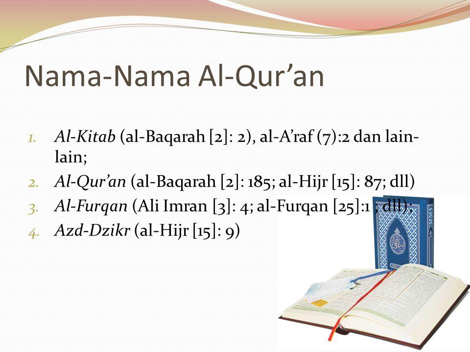 Nama-Nama Al-Qur'an 1.Al-Kitab (al-Baqarah [2]: 2), al-A'raf (7):2 dan lain- lain; 2.